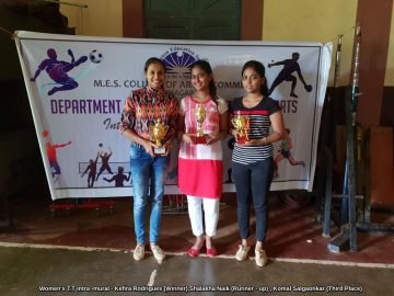 Women's T.T Intra -mural - Kefira Rodrigues (Winner),Shalakha Naik (Runner - up) , Komal Salgaonkar (Third Place)