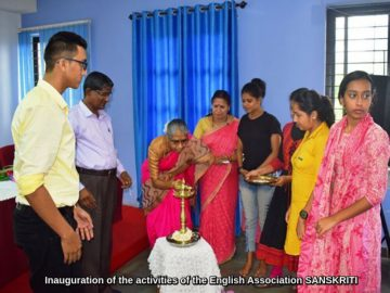 Inauguration of the activities of the English Association SANSKRITI at the hands of Ms. Rajashree R Desai, Associate Professor and Head, Dept. of English, Parvatibai College of Arts and Science (1)