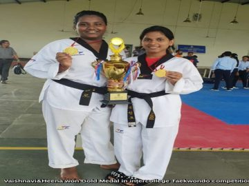 Vaishnavi and Heena won Gold Medal in inter collegiate Taekwondo competition. (1)